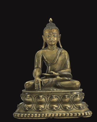 A bronze figure of Buddha Shak