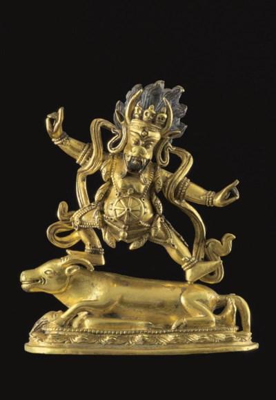 A gilt bronze figure of Yamadh