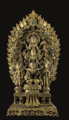 A Large Gilt Bronze Statue of