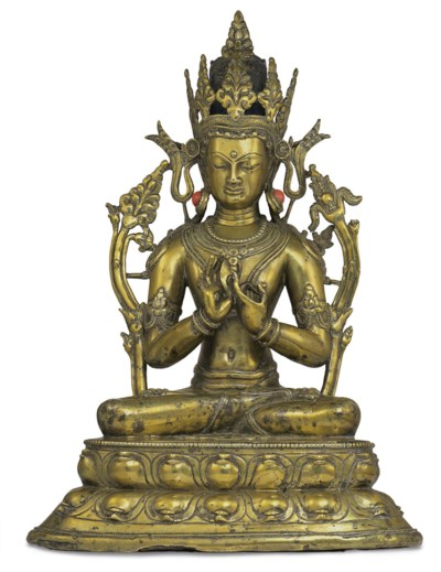 A gilt bronze figure of Vairoc