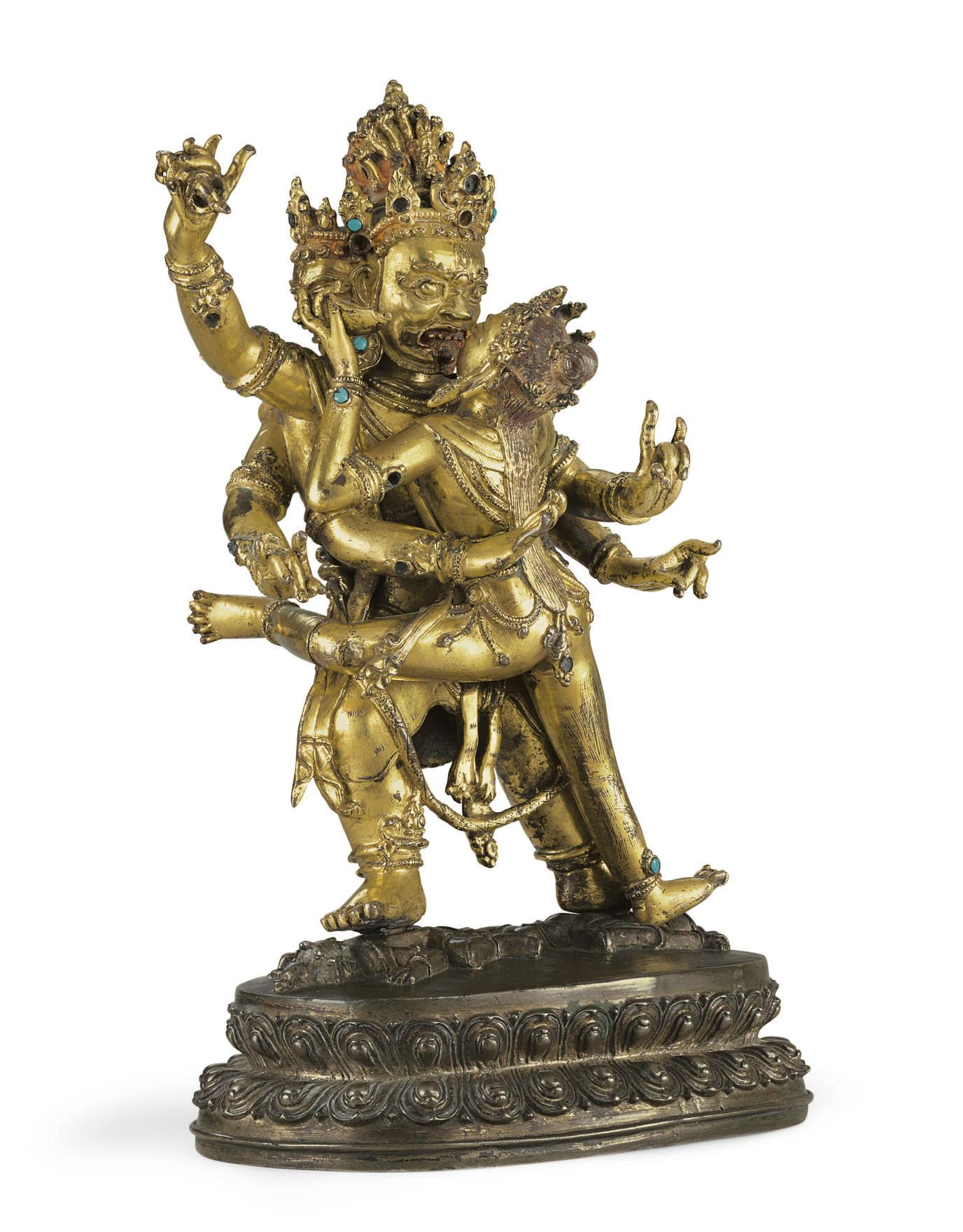 A gilt bronze figure of Hevajr