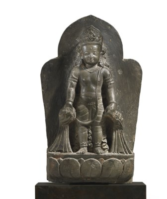 A black stone stele of Krishna