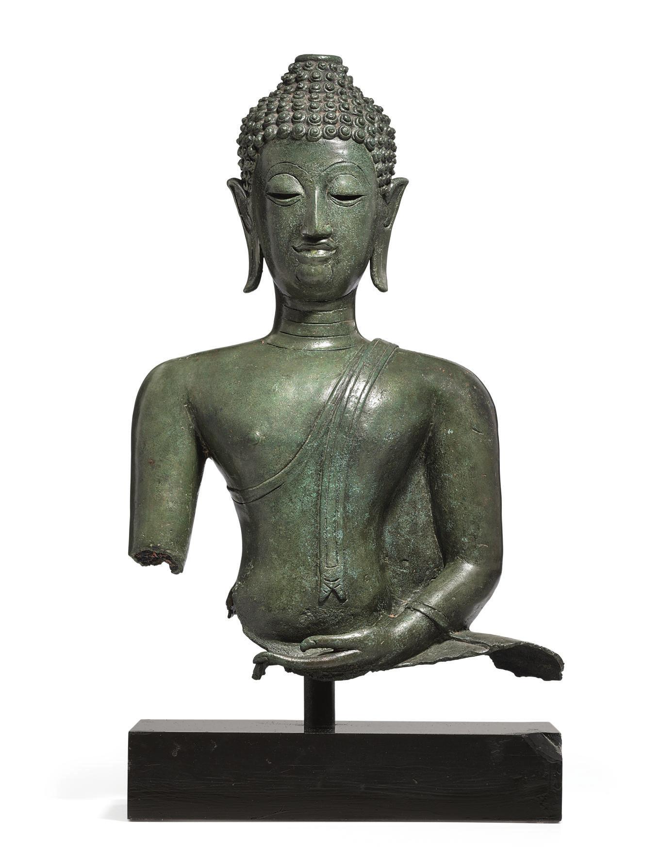 A bronze bust of Buddha