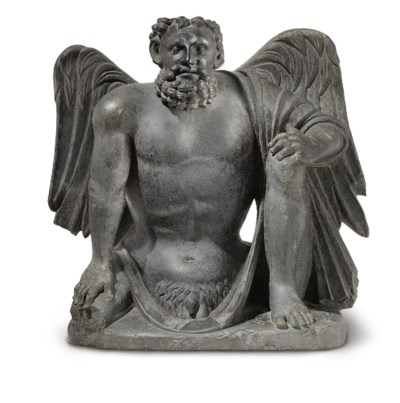 A gray schist figure of a wing