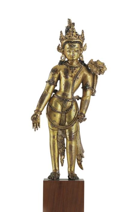 A gilt copper figure of Padmap