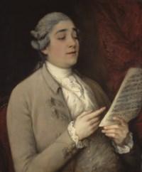 Portrait de Giusto Ferdinando Tenducci tenant une partition
