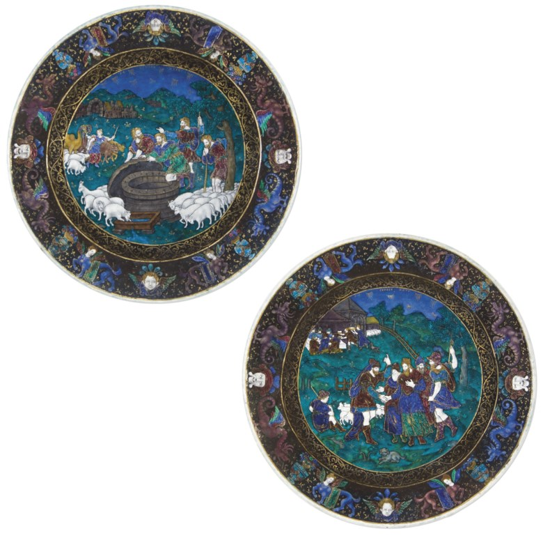 A pair of circular parcel-gilt polychrome enamel dishes depicting scenes from Genesis, Suzanne de Court, circa 1600. Diameter 24.7  cm (9¾  in) 	 (2). Sold for €133,000 on 23-25 February 2009  at Christie's in Paris