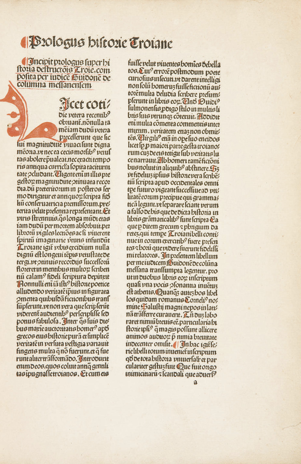 [INCUNABLE] -- COLUMNA, Guido