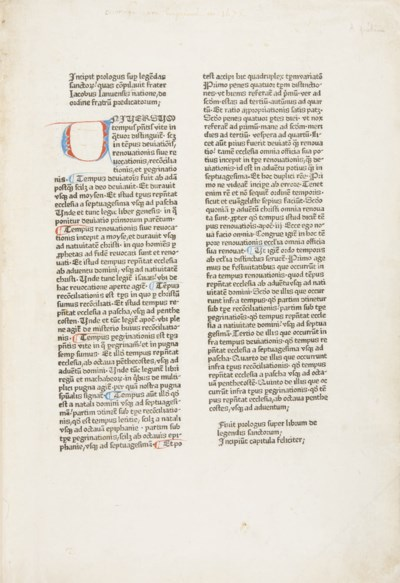 [INCUNABLE] -- VORAGINE, Jacqu