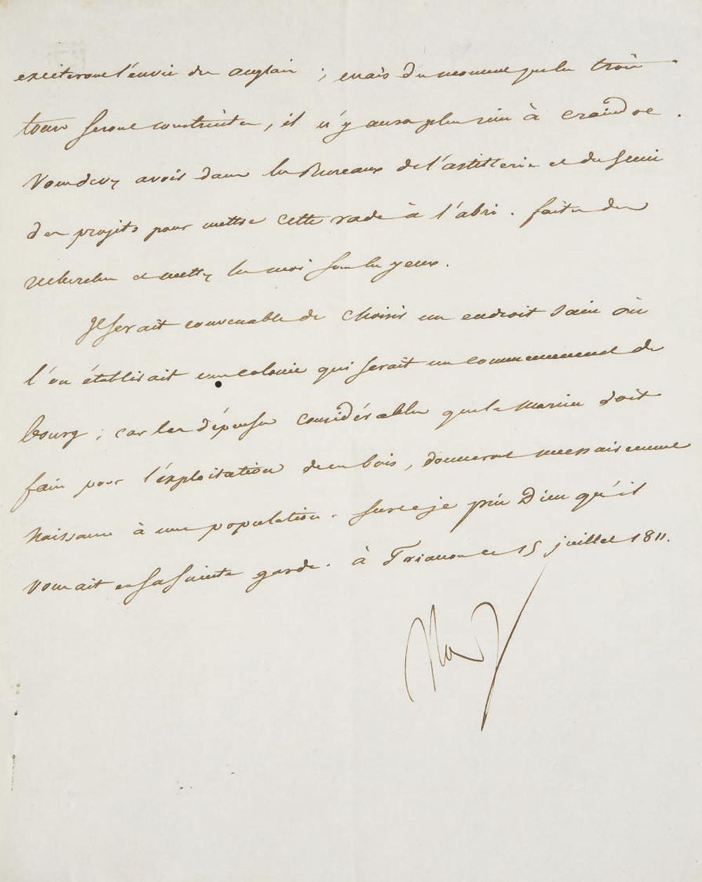 NAPOLÉON Ier (1769-1821). Lett
