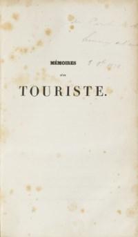 [STENDHAL, Henri Beyle dit (1783-1842)]. Mémoires d'un touriste. Par l'auteur de Rouge et Noir. Paris: Ambroise Dupont, 1838.