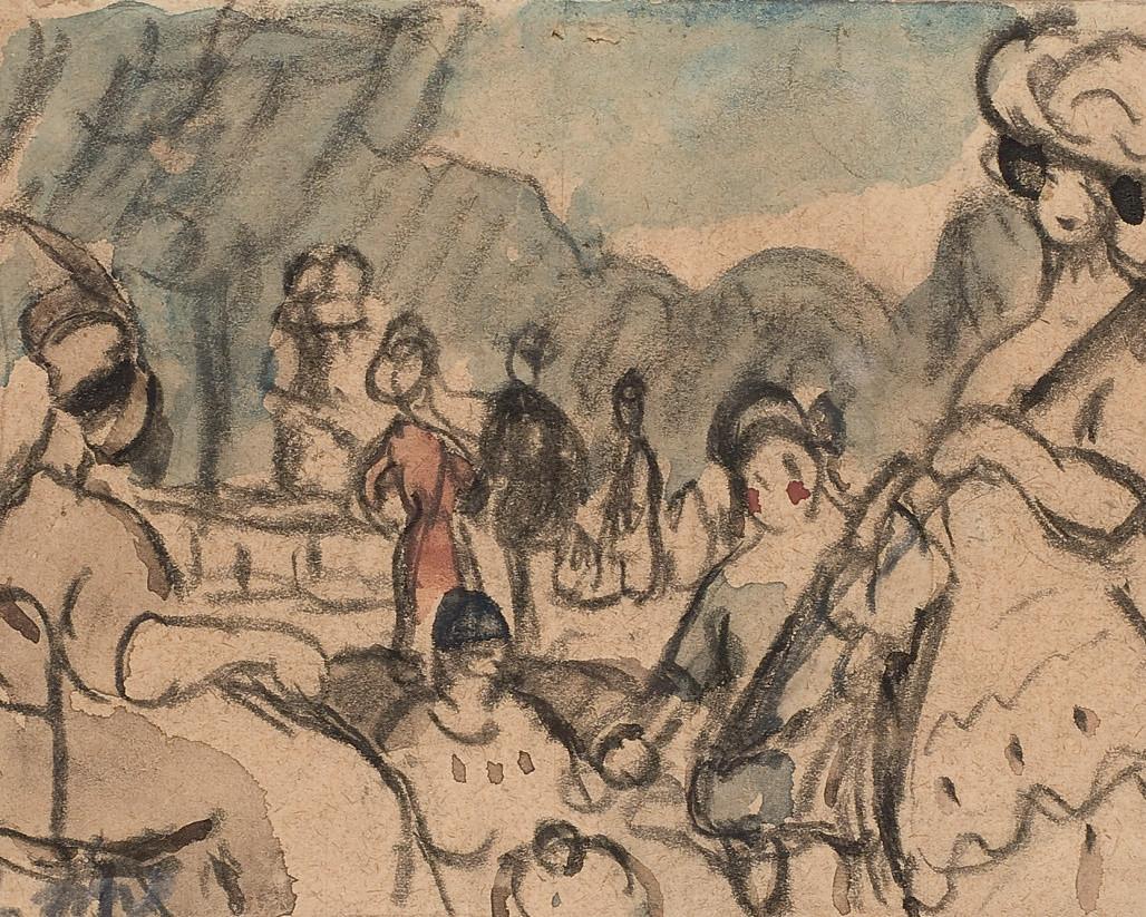 Trois dessins (1. 'Au jardin du Luxembourg'; 2. 'Le Port'; 3. 'Les Ponts')
