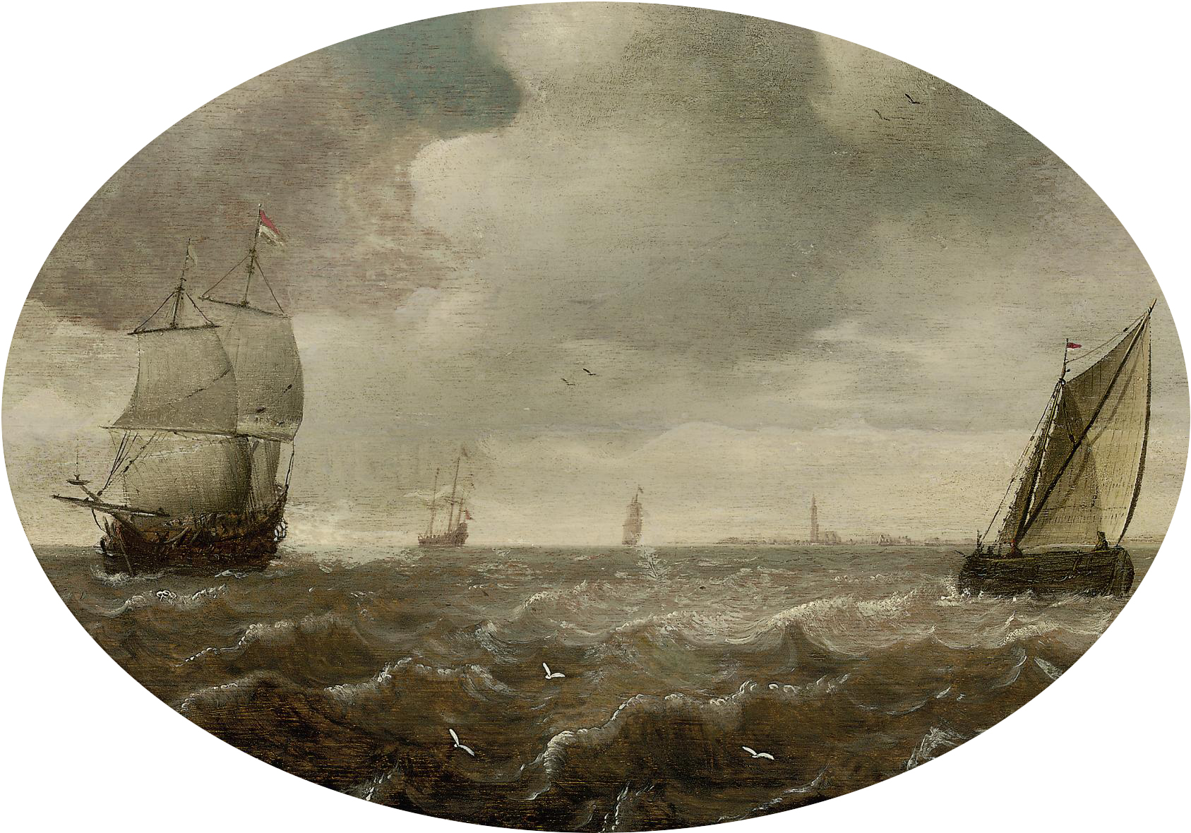 Shipping in choppy water, a town in the distance