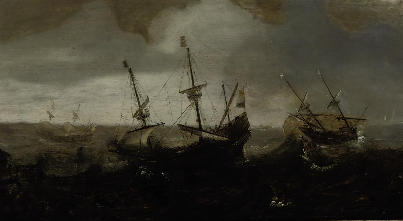 A whaling expedition in a rough sea