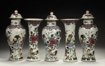 A Chinese famille rose garnitu