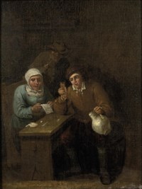 Two men and a women drinking and playing a game at a table in an inn