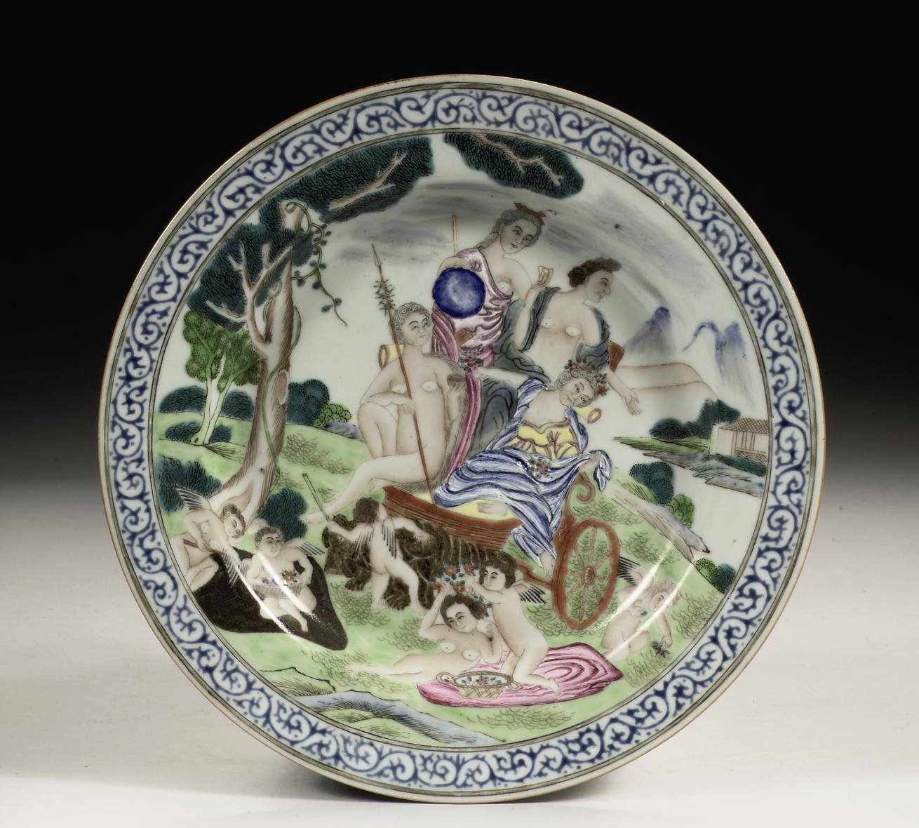 A Chinese famille rose 'four elements' plate depicting 'earth'