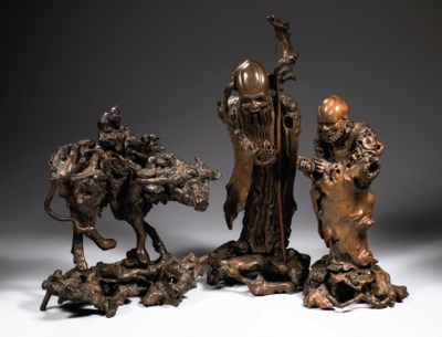 A Chinese rootwood figural gro