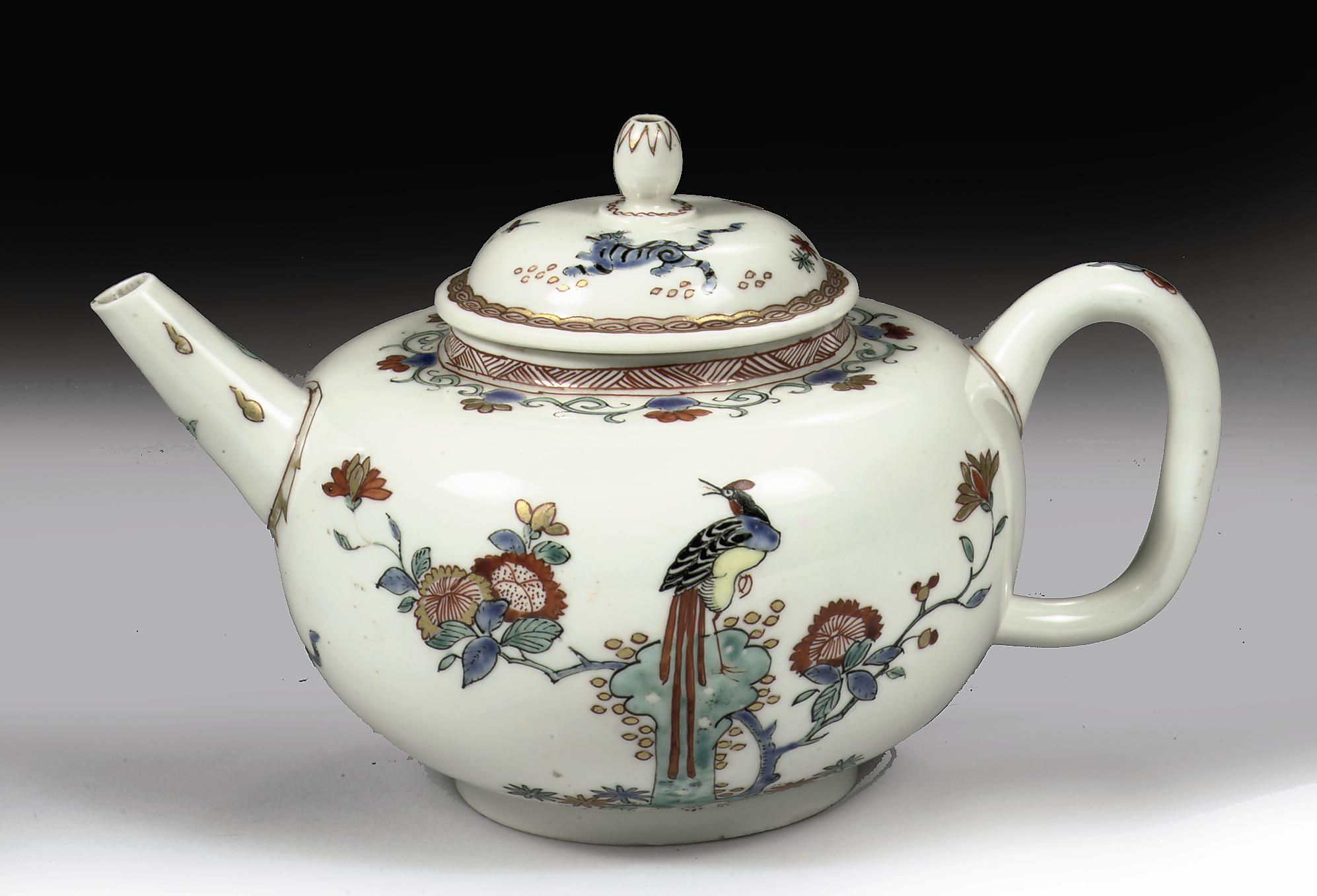A Chantilly Kakiemon depressed globular teapot and cover