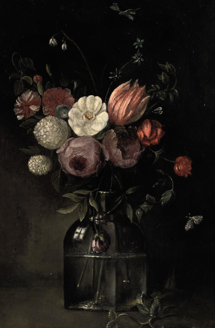 Roses, tulips, a snowball, carnations, Loddon Lilies and an anemone in a glass vase on a ledge