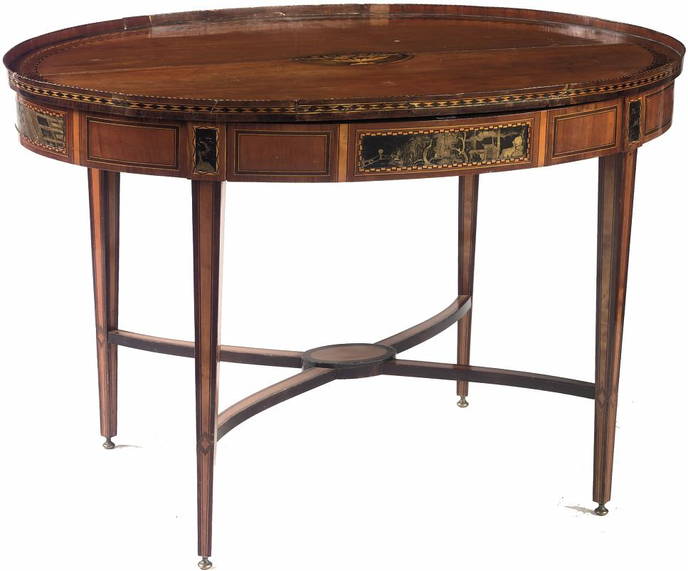 A DUTCH SATINWOOD, MAHOGANY, FRUITWOOD MARQUETRY AND BLACK-AND GILT JAPANNED CENTRE TABLE