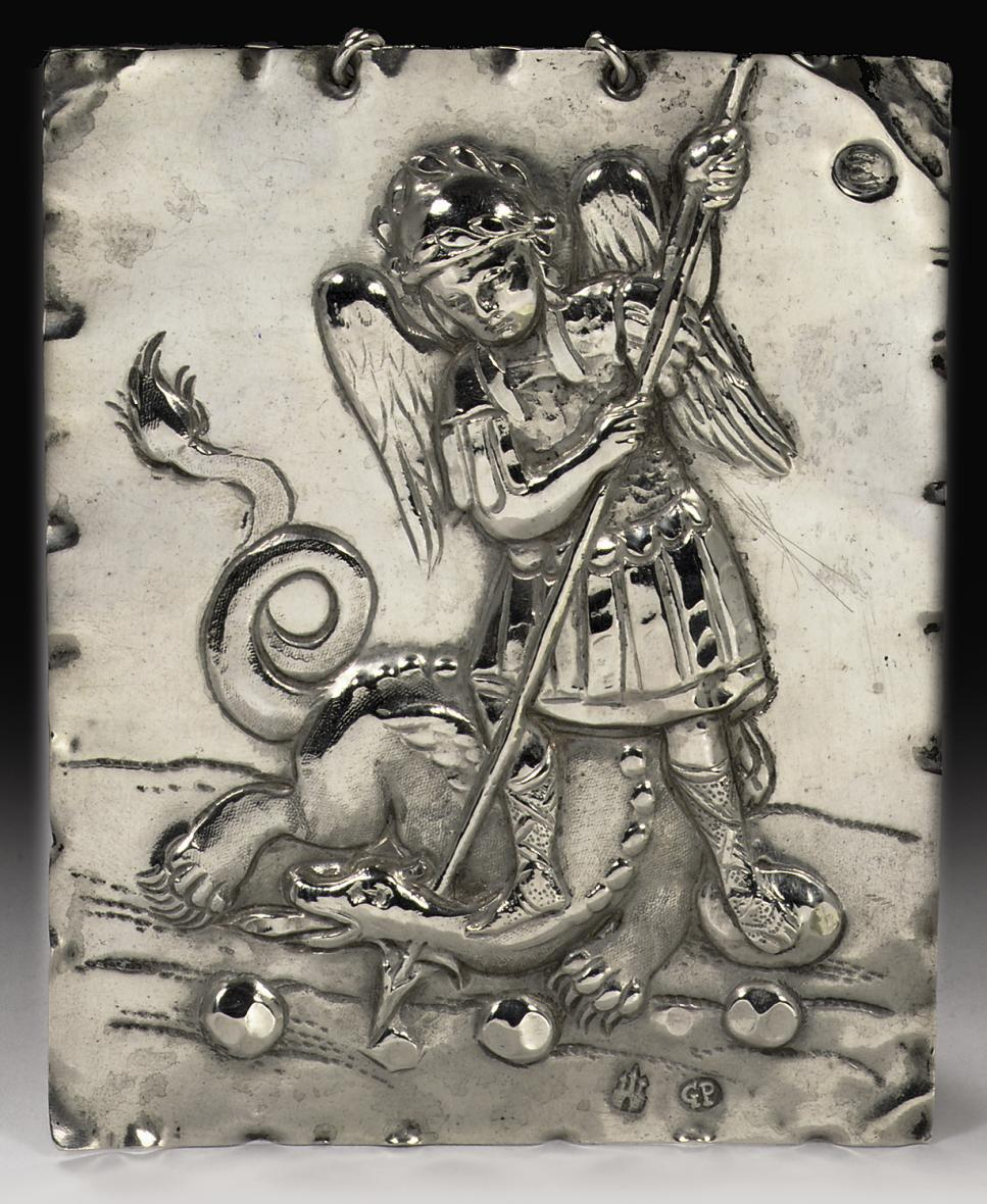 An Austro-Hungarian silver plaque of St. George and the dragon