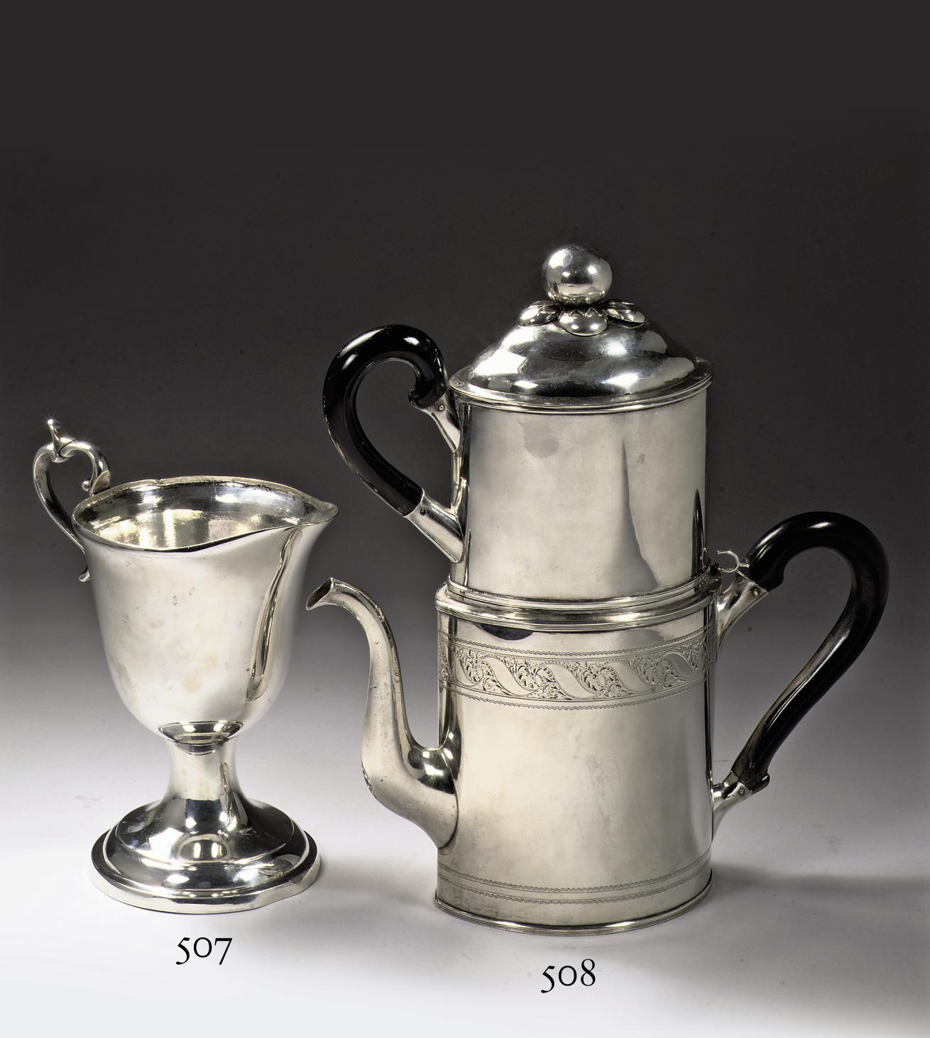A German silver coffee-pot with filter