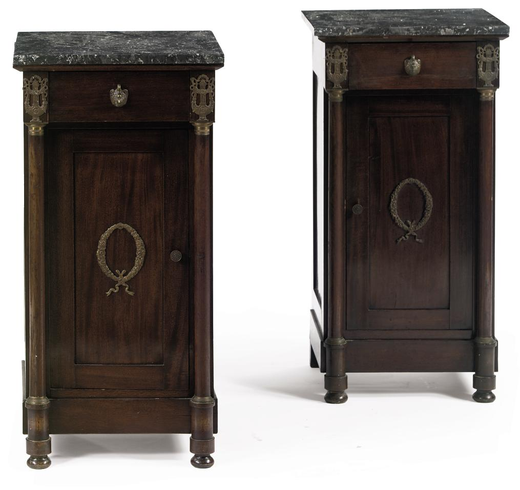 A PAIR OF MAHOGANY BEDSIDE CUPBOARDS