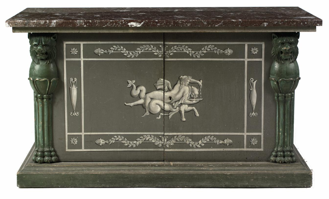 A FRENCH POLYCHROME-PAINTED WOOD SIDEBOARD
