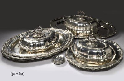 A pair of American silver serv