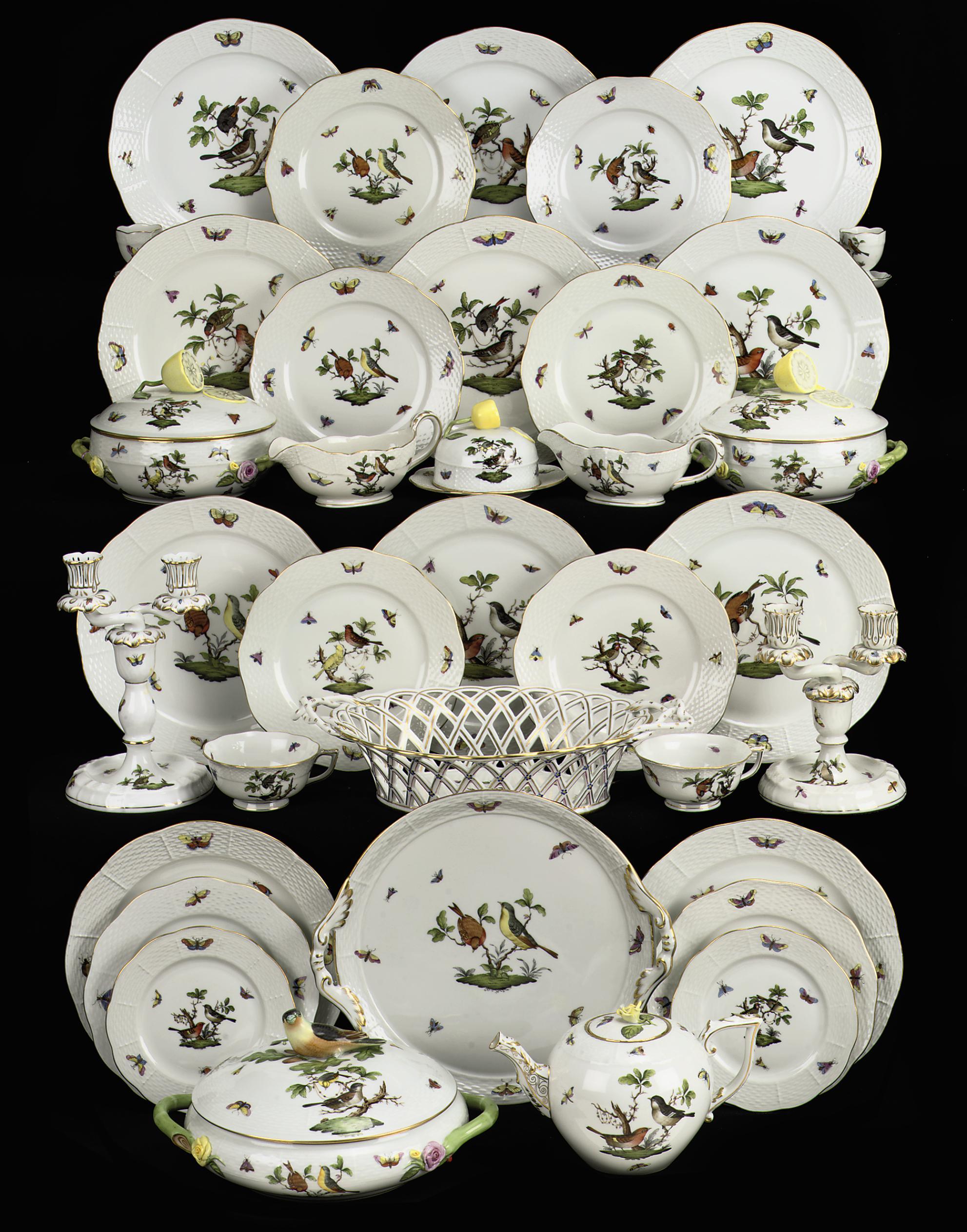 An assembled Herend 'Rothschild bird' part dinner service