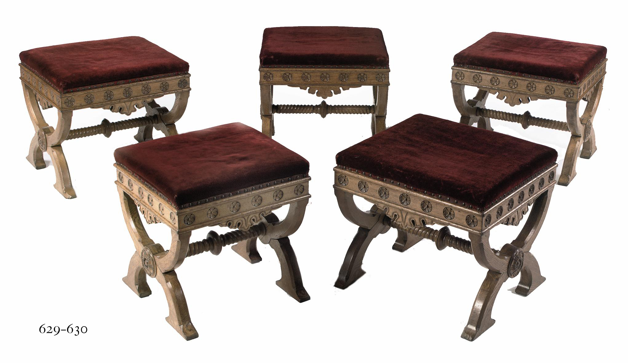 A PAIR OF VICTORIAN OAK STOOLS