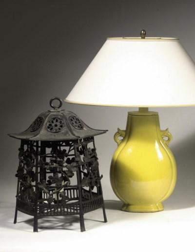 A Japanese bronze lantern
