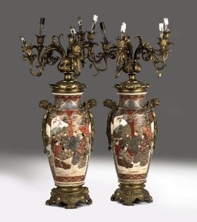 A pair of Japanese Satsuma vas