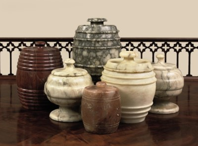 SIX VARIOUS MARBLE AND ALABAST