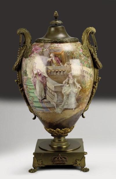 A large European mounted vase