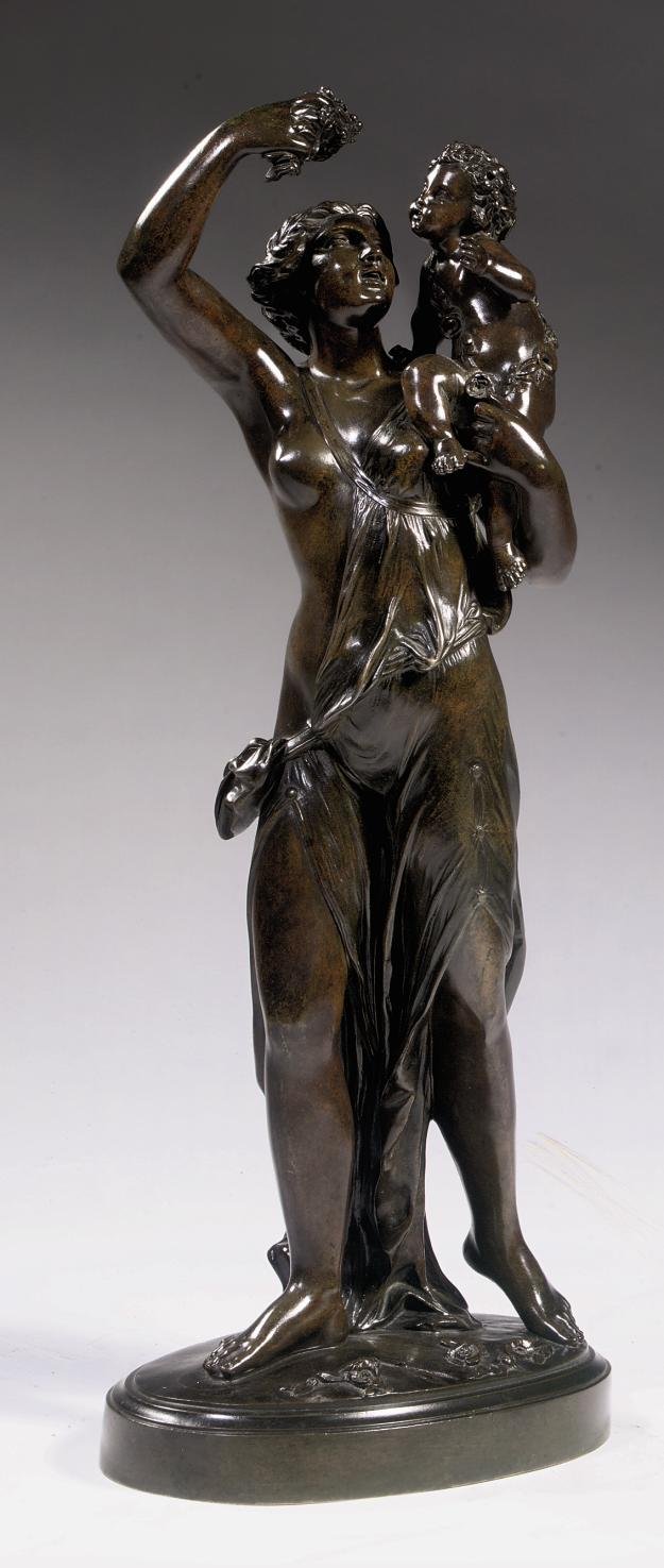 A FRENCH BRONZE GROUP ALLEGORICAL OF SUMMER