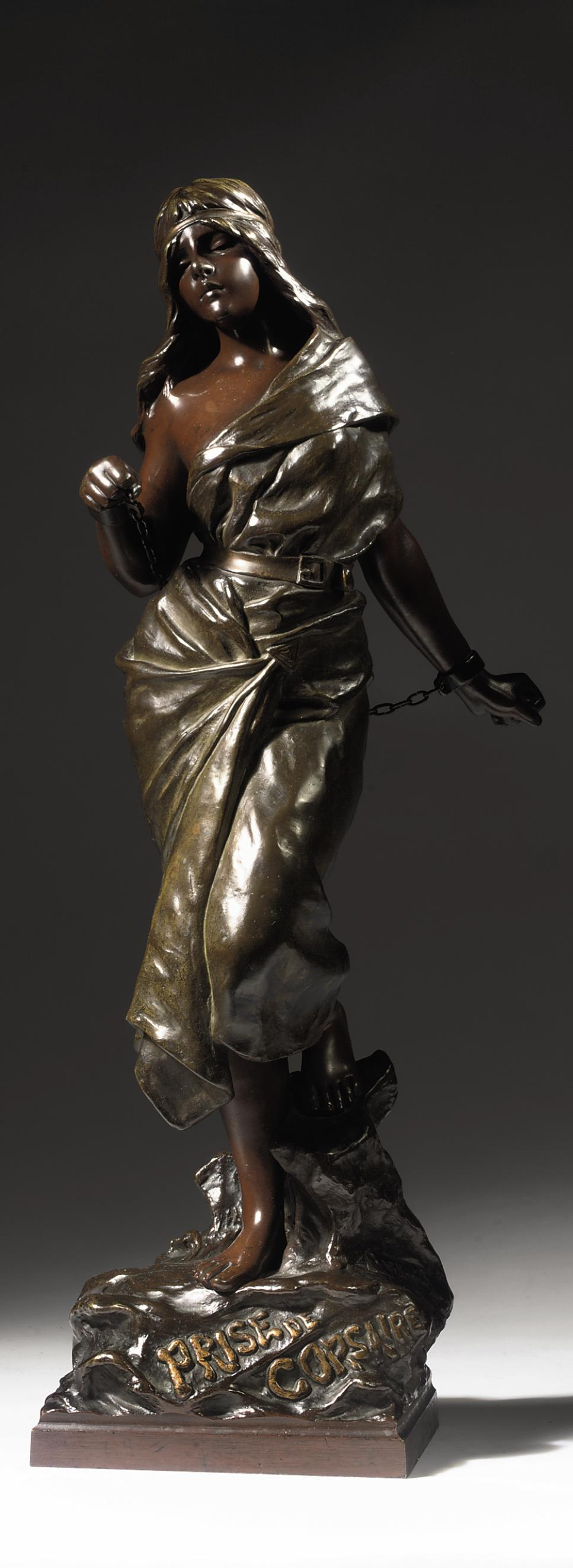 A FRENCH MULTI-COLOUR PATINATED BRONZE FIGURE OF A FEMALE ENTITLED 'PRISE DE CORSAIRE'