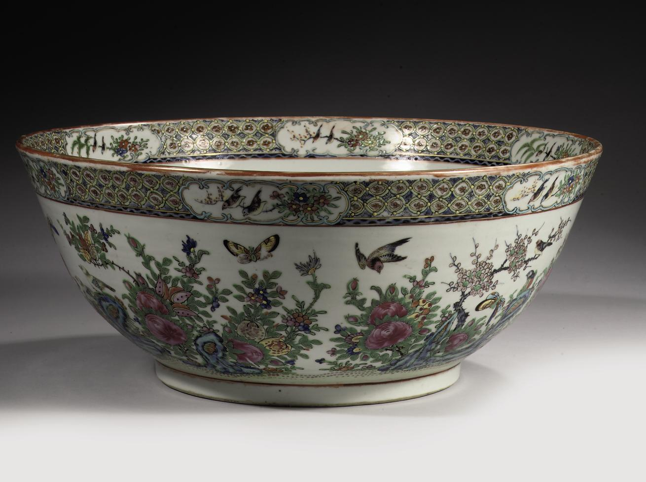 A Chinese Canton famille rose punchbowl