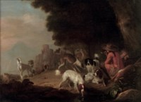 Huntsmen resting with their hounds in a landscape