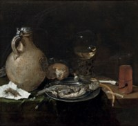 An earthenware jug, a bun, a 'Roemer', sliced herring on a pewter plate and a 'Kometenglas' on a partially draped table