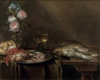 Roses and an iris in a glass vase, crabs and prawns on a pewter platter, a bread roll, a 'Roemer' and fish, all on a partly draped table