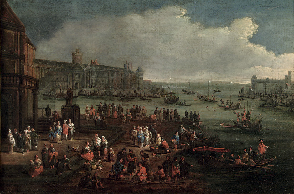 An Italianate harbour with numerous figures