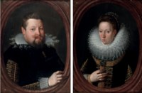 Portrait of a gentleman, bust-length, in a black doublet with gold brocade; and Portrait of a lady, bust-length, in a black dress with gold brocade and a lace ruff
