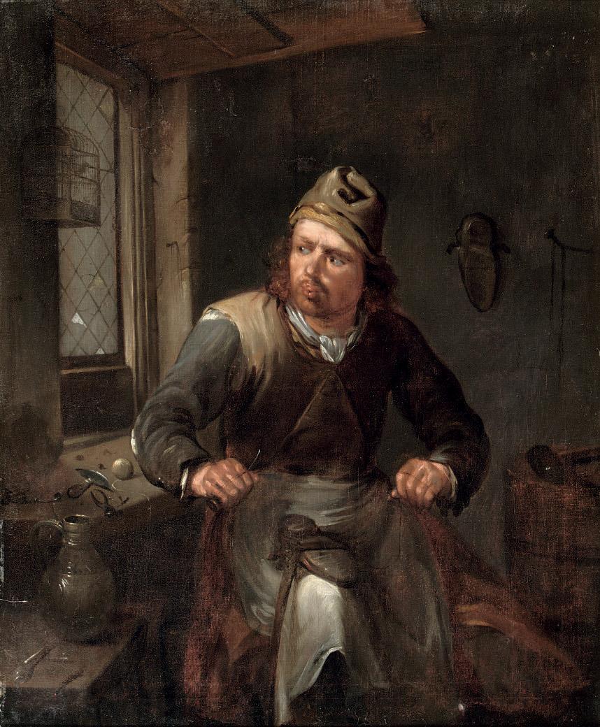 A cobbler in his workshop