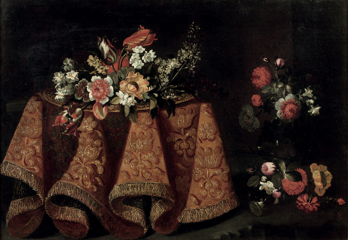 Tulips, poppies and various other flowers on a gold plate on a table with a gold embroidered cloth, together with other flowers nearby