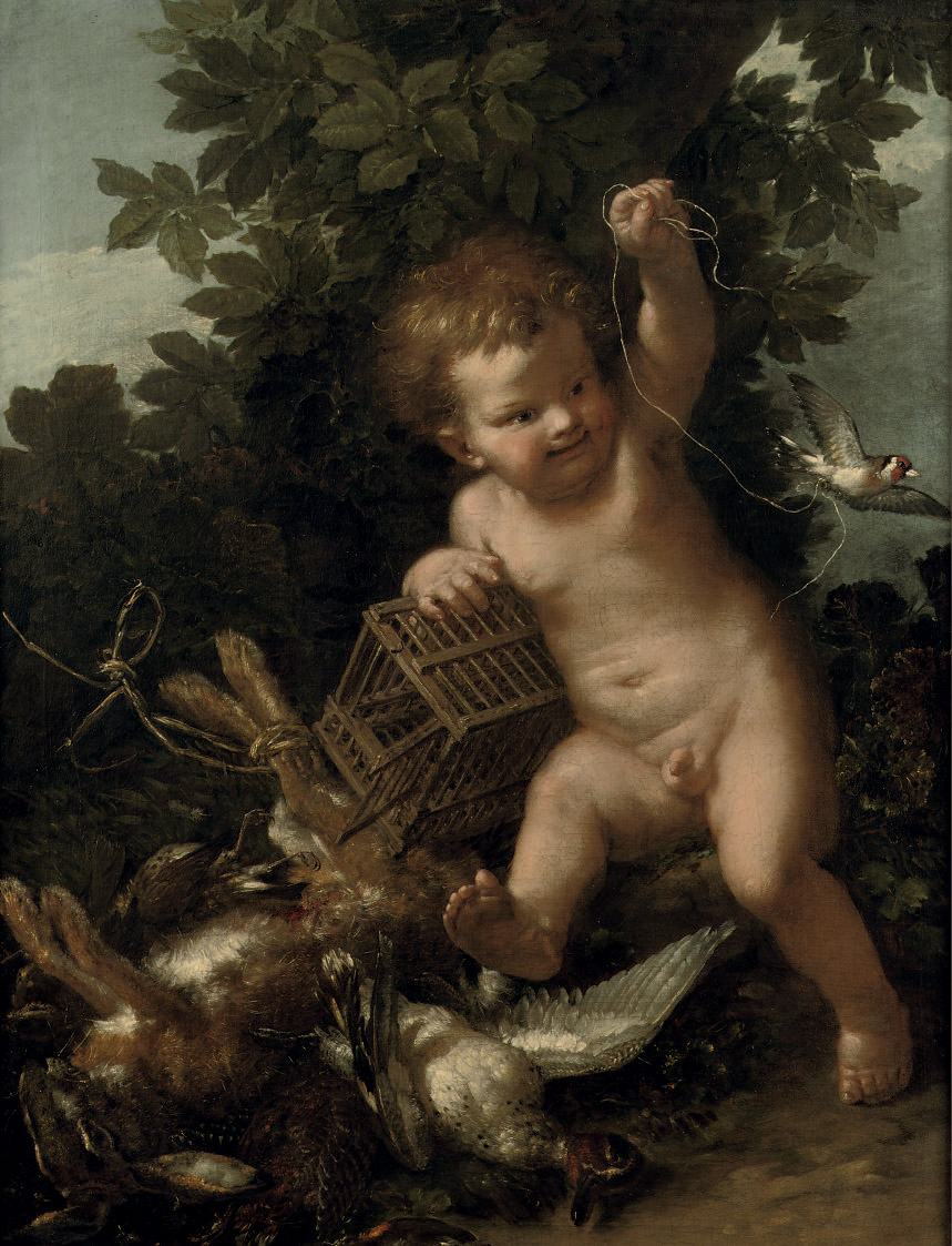 A putto playing with a bird, with game nearby