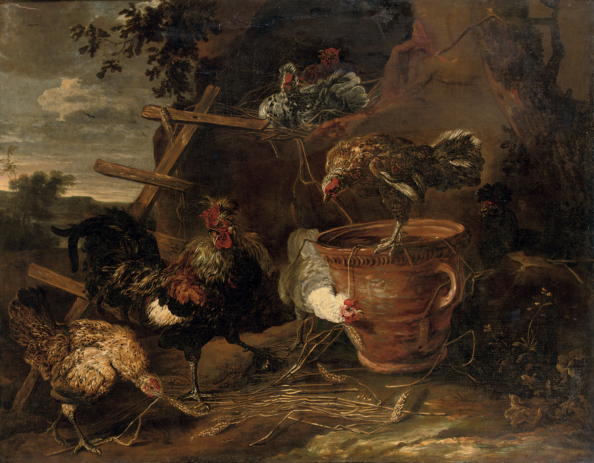 Chickens and a cockerel in a farmyard