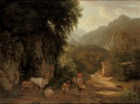 An Italianate landscape with travellers and peasants on a mountain track, others praying in front of a chapel