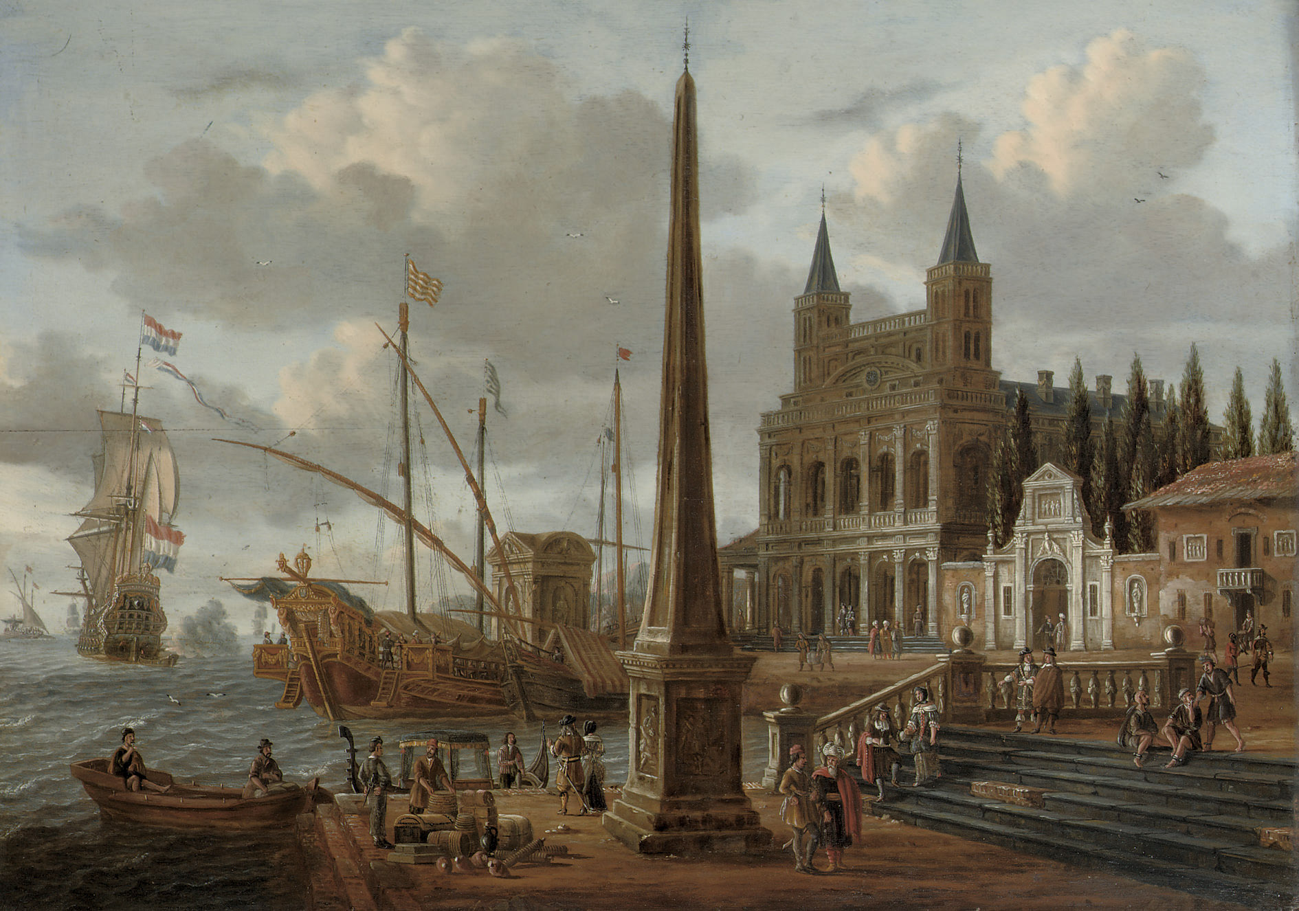 A meditteranean harbour scene with the facade of the Basilica di San Giovanni in Laterano